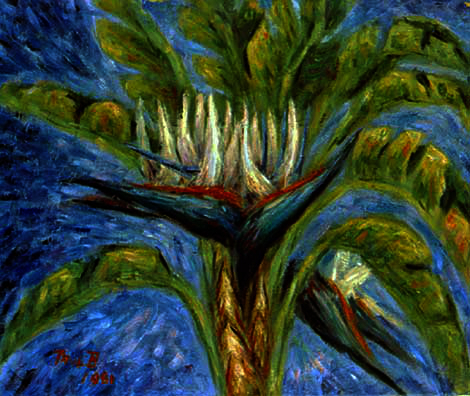 """White Birds of Paradise"" Exotic Flower oil painting and prints by Pointillistic/Impressionist painter Paul Berenson"