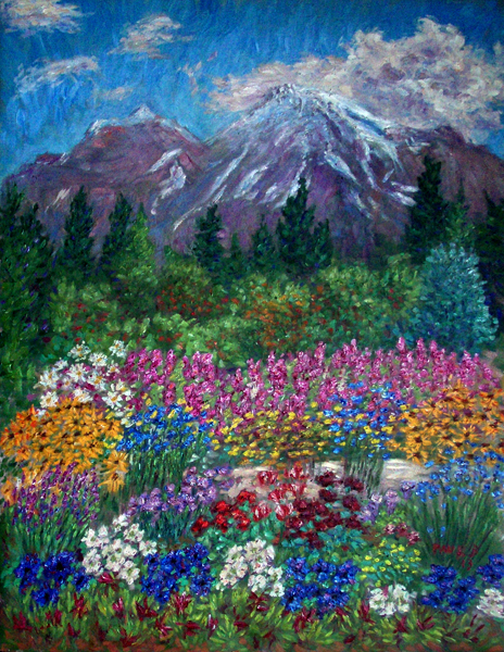 """William's Flower Garden in Mount Shasta"" Mount Shasta oil painting and prints by Pointillistic/Impressionist painter Paul Berenson"