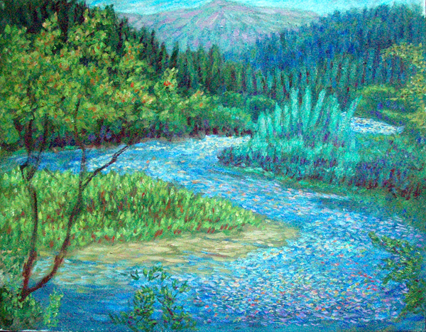"""Tree in the Winding Klamath River"" California Waterscapes oil painting and prints by Pointillistic/Impressionist painter Paul Berenson"