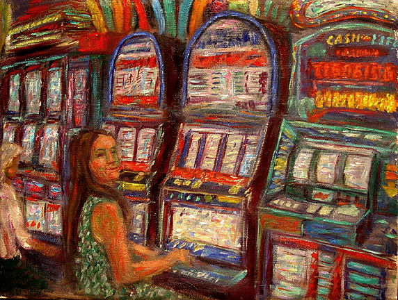 """Ann Winning At Slots"" Las Vegas oil painting and prints by Pointillistic/Impressionist painter Paul Berenson"