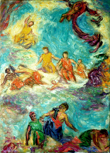 """;Winter: Juno Beseeching Aeolus to Destroy the Fleet"" after Delacroix Classics oil painting and prints by Pointillistic/Impressionist painter Paul Berenson"